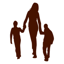 Mom walking with two childs
