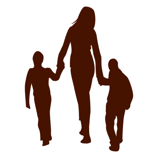Mom walking with two childs Transparent PNG