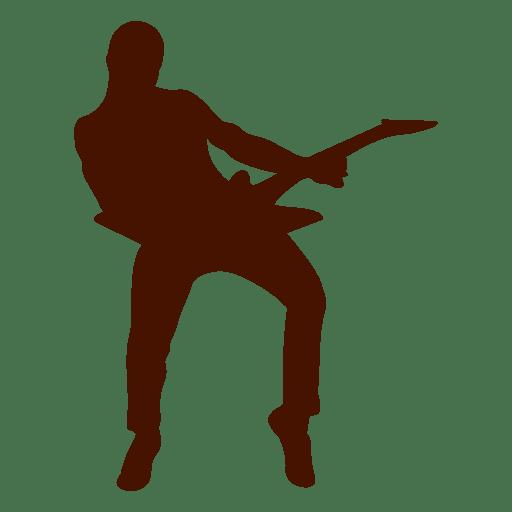 Guitarrista com silhueta de guitarra elétrica