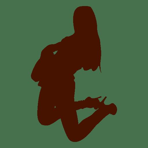 Woman guitar musician silhouette