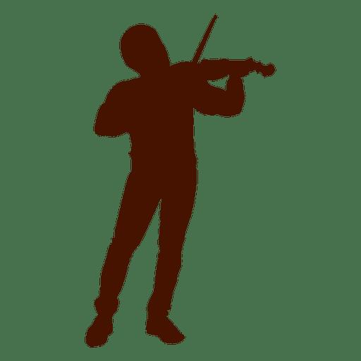Silueta de músico de violín de música