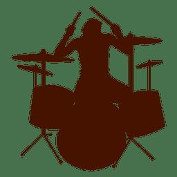 Silhueta de tambores de música de músico