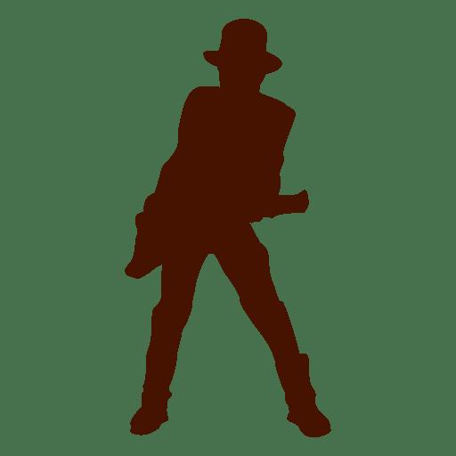 Silhueta de guitarra música músico com chapéu Transparent PNG