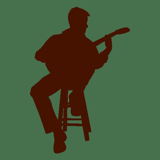 Musician seated guitarist silhouette