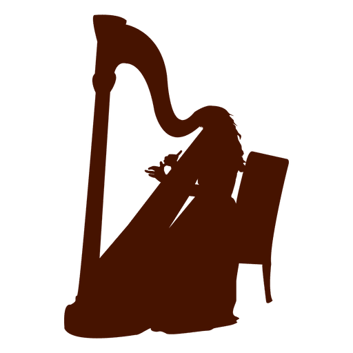 Musician music instrument harp silhouette Transparent PNG