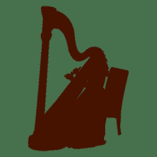 Musician music instrument harp silhouette