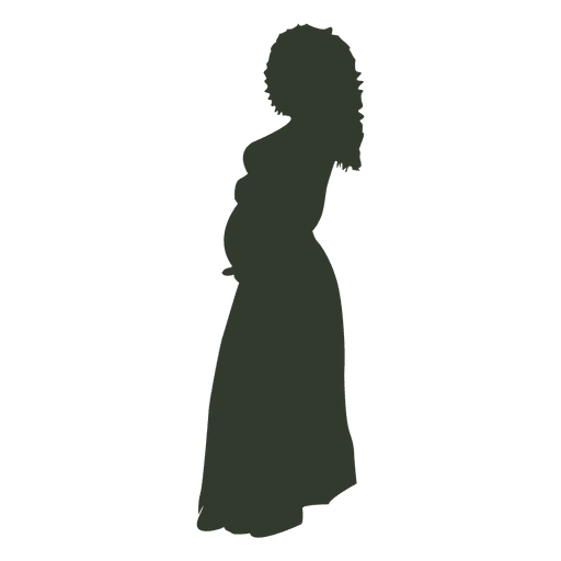 Silueta de mujer embarazada rizada Transparent PNG