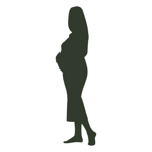 Pregnant woman silhouette touching womb Transparent PNG