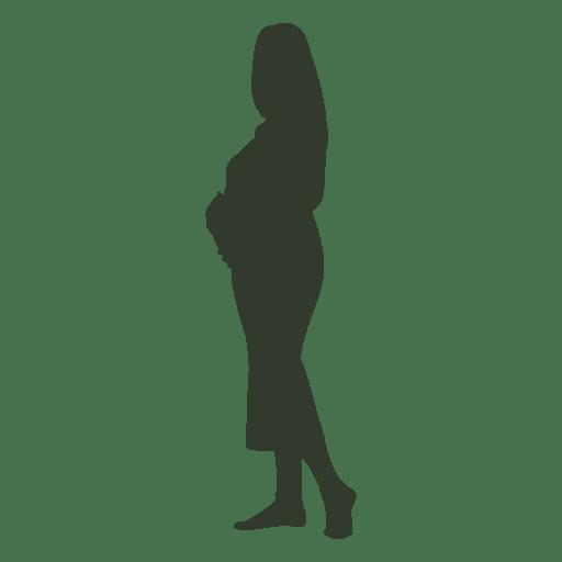 Silhueta de mulher grávida tocando o ventre Transparent PNG