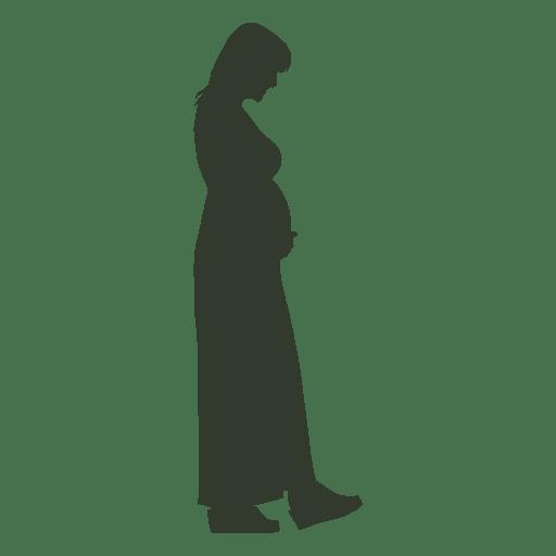 Pregnant woman silhouette walking