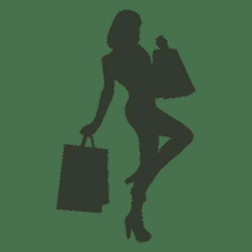Bolsos de compras de la mujer en una actitud