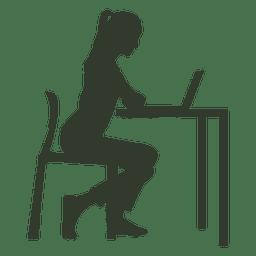 Mulher sentada mesa de trabalho cadeira