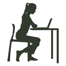 Mulher, sentando, cadeira, trabalhando, escrivaninha