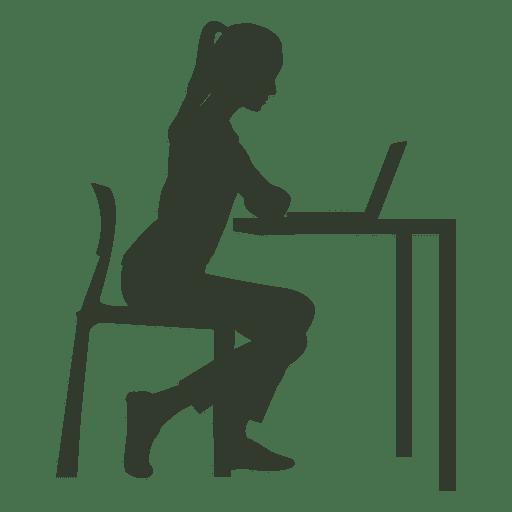 Mulher, sentando, cadeira, trabalhando, escrivaninha Transparent PNG