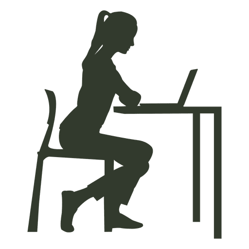 Woman sitting chair working desk Transparent PNG