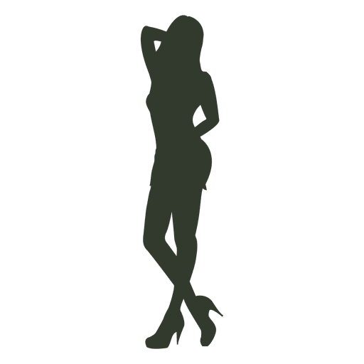 Woman standing pose silhouette hand neck Transparent PNG