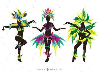 Carnaval, dançarinos, silueta, ilustrações