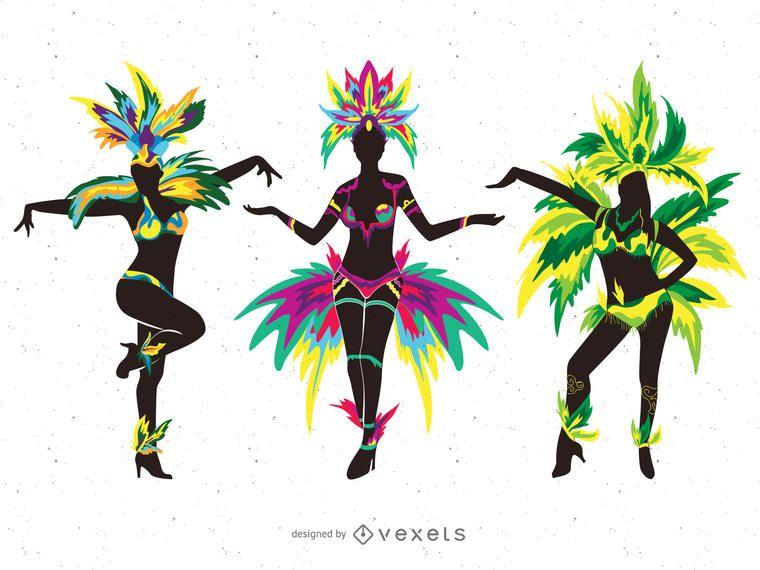Carnival dancers silhouette illustrations
