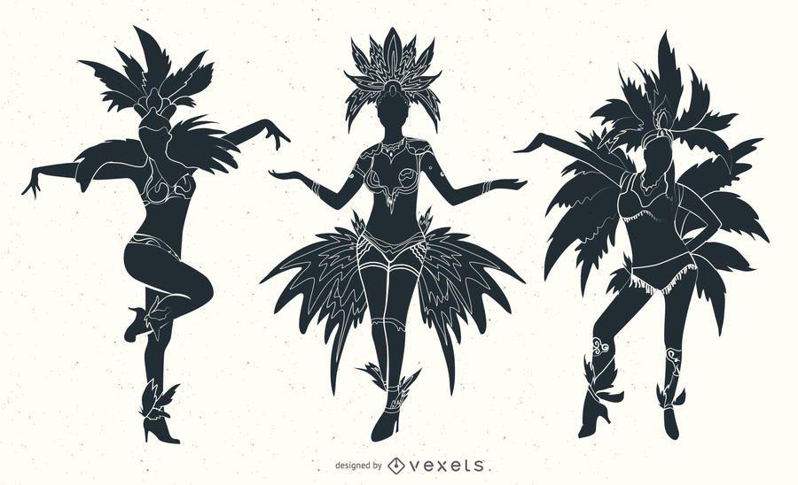 Silhuetas de dançarinos de carnaval do Rio