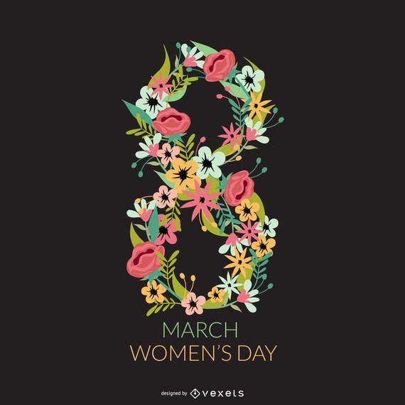 Diseño floral del día de la mujer.
