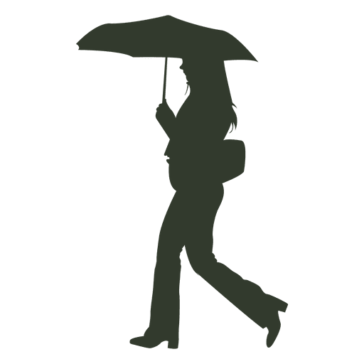 Woman walking in rain with umbrella silhouette  Transparent PNG