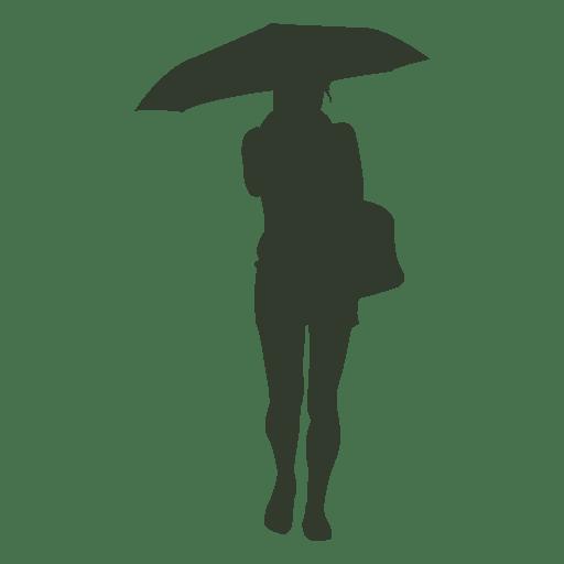 Woman umbrella silhouette under the rain Transparent PNG
