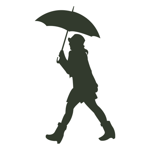 woman umbrella silhouette walking rain transparent png