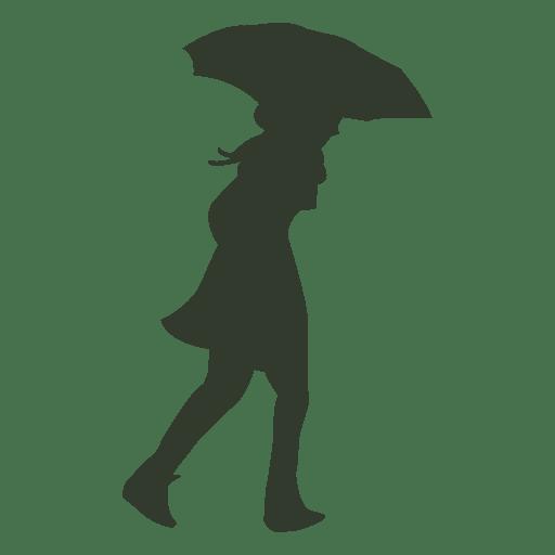 Woman walking umbrella silhouette wind rain Transparent PNG