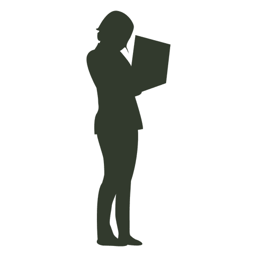 Working woman silhouette laptop