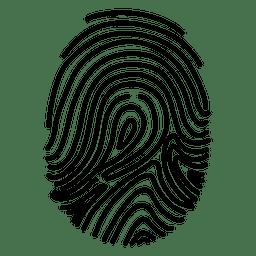 Silueta de huellas dactilares remolinadas