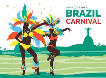 Brazilian carnival dancers illustration