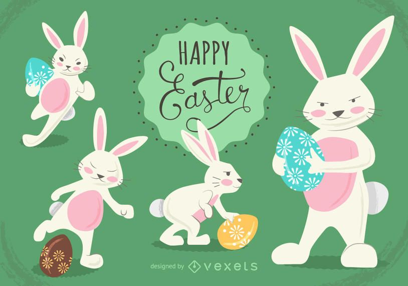 Set of Easter bunny illustrations