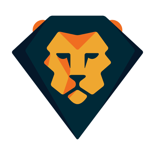Geometric lion logo safari Transparent PNG