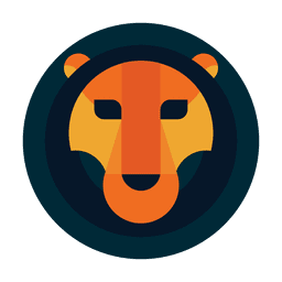 Circle lion logo safari