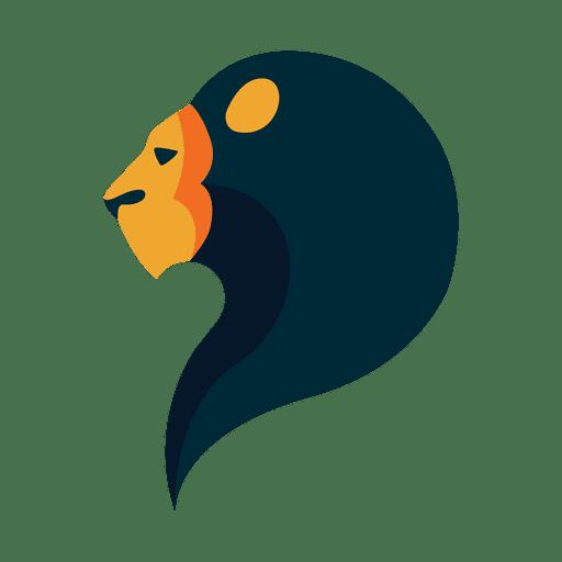 Flat lion logo safari Transparent PNG