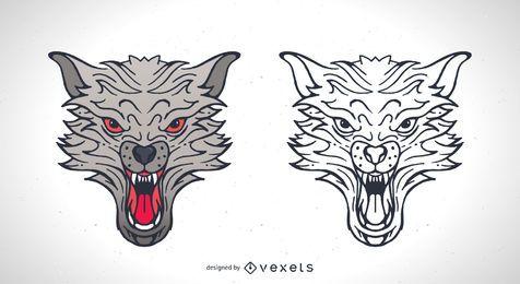 Zwei Wolf Vektoren