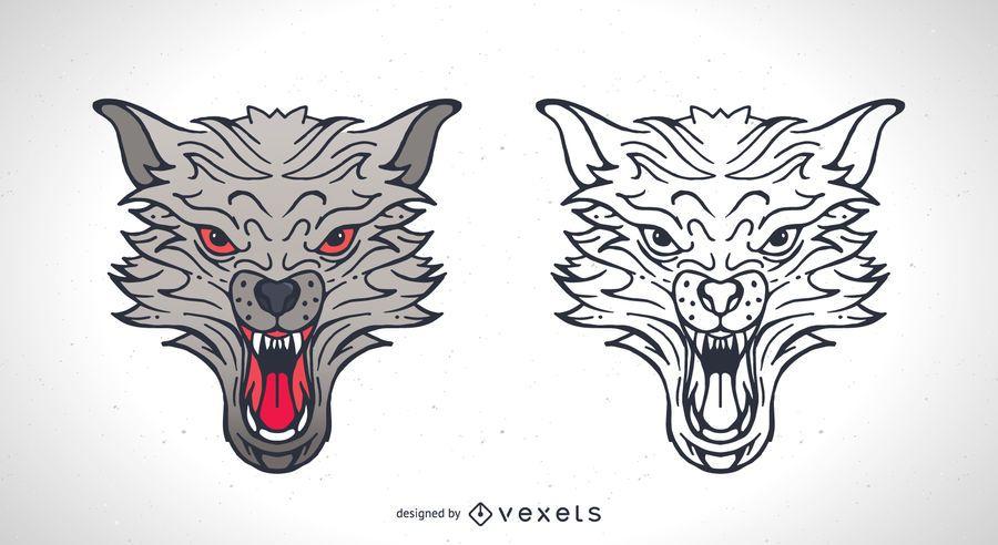 Colección De Silueta De Lobo: Dos Lobos Vectores