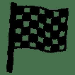 Ganador de la bandera de carreras de coches en blanco y negro