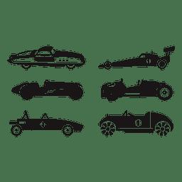 Conjunto de ilustración de carreras de coches de carrera de velocidad