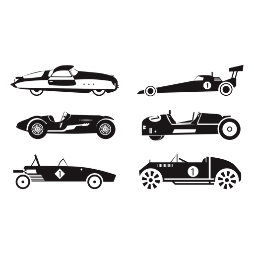 Speed race car racing illustration set Transparent PNG