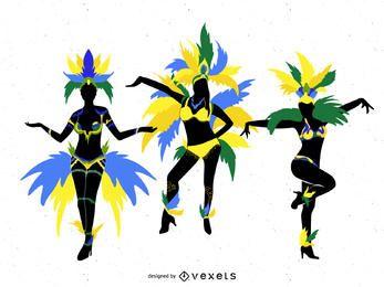 Bailarines aislados carnaval