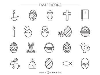 iconos de trazo de Pascua