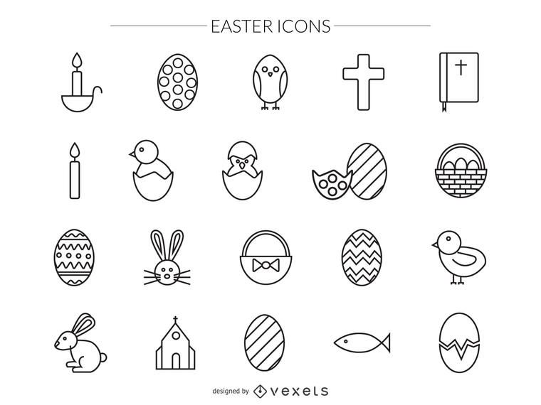 Easter stroke icons