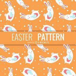 Patrón de Pascua con conejitos ilustrados