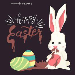 Ilustración de un conejito de Pascua con chocolate
