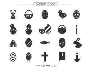 Conjunto de ícones de Páscoa plana