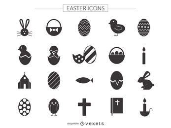 Flat Easter icon set