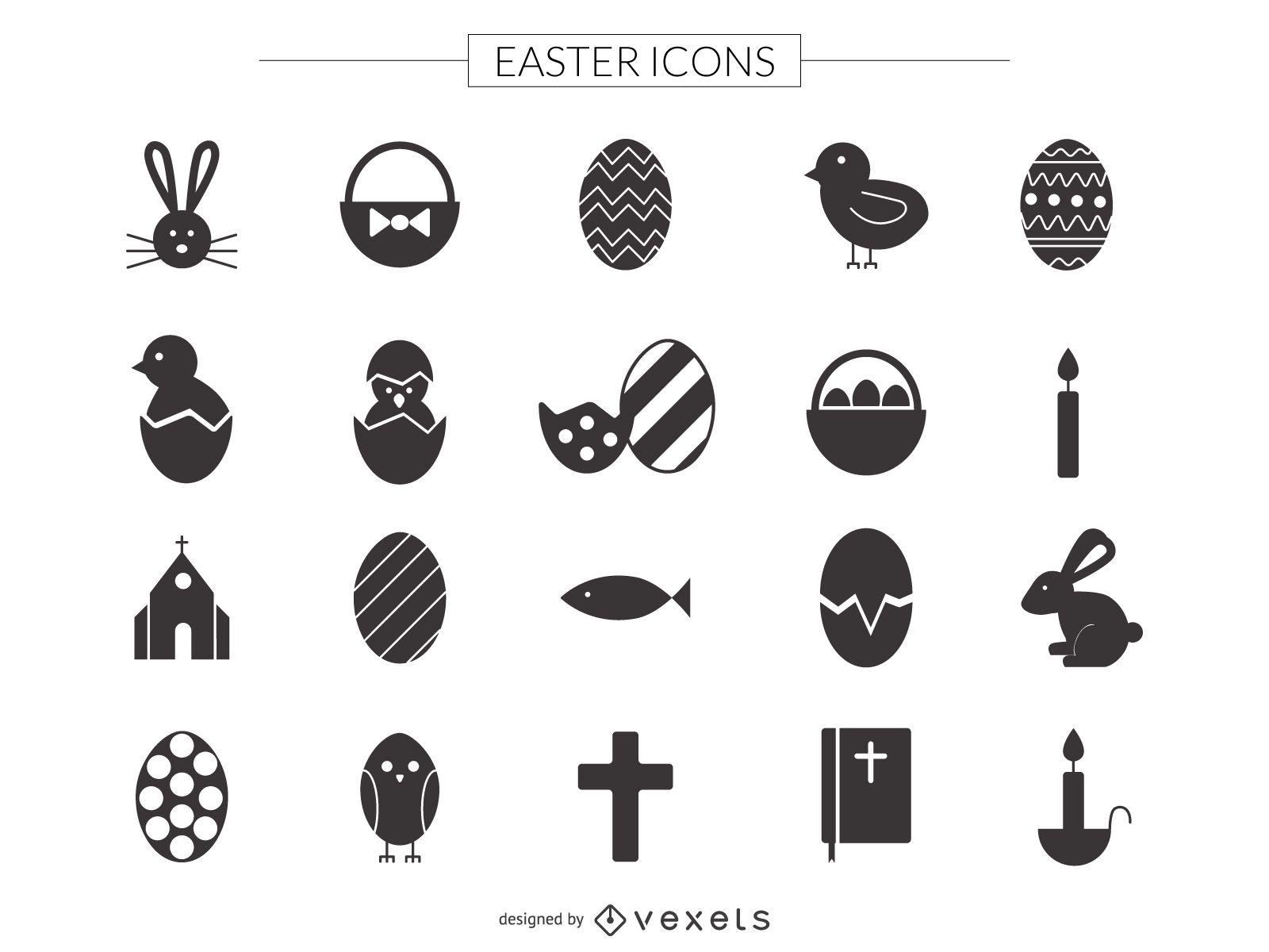 Conjunto de iconos de Pascua plana