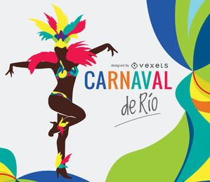 Ilustración de bailarina de Carnaval de Rio