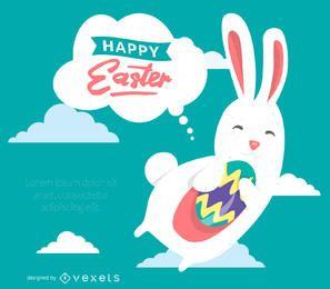 Cartel de feliz Pascua con ilustración de conejito